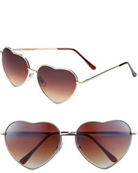Junior Heart Shaped 58mm Sunglasses Gold Brown