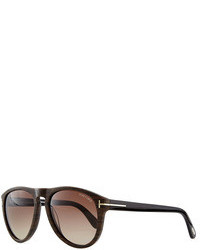 Tom Ford Kurt Acetate Aviator Sunglasses Brown