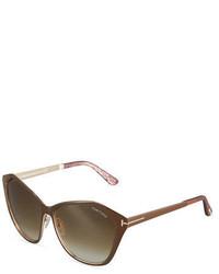 Tom Ford Leana Faceted Cat Eye Plastic Sunglasses