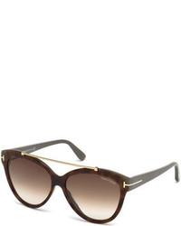 Tom Ford Livia Cat Eye Brow Bar Sunglasses Brown Havana