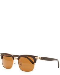 Brioni Metal Horn Square Polarized Sunglasses Brown
