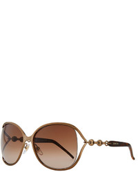 Gucci Metal Sunglasses With Chain Bronzebrown