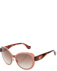Balenciaga Metal Trim Round Plastic Sunglasses Pinkbrown