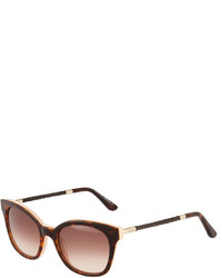 Tod's Modified Cat Eye Tortoise Acetate Sunglasses Havanabrown