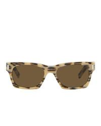Saint Laurent Off White And Brown Leopard Sl 402 Sunglasses