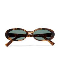 Le Specs Outta Love Oval Frame Tortoiseshell Acetate Sunglasses