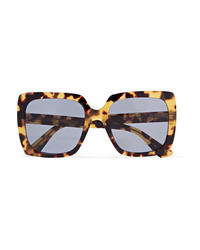 Gucci Oversized Crystal Embellished Square Frame Tortoiseshell Acetate Sunglasses
