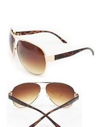Overstock Brown Metal Aviator Sunglasses