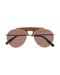 Loewe Pilot Aviator Style Gold Tone And Textured Leather Sunglasses