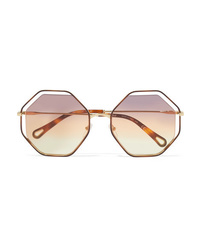 Chloé Poppy Octagon Frame Gold Tone And Tortoiseshell Acetate Sunglasses