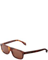 Alexander McQueen Rectangle Plastic Sunglasses Brown
