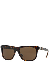 Burberry Rectangular Sunglasses With Check Detail