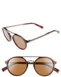 Ermenegildo Zegna Retro 50mm Sunglasses Havana Light Bronze Brown