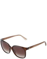 Gucci Square Havana Plastic Sunglasses Brown