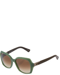 Lanvin Square Matte Plastic Sunglasses Greenbrown