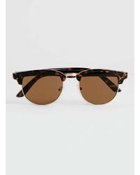 Topman Tortoise Shell Retro Half Frame Sunglasses