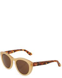 Salvatore Ferragamo Two Tone Modified Cat Eye Plastic Sunglasses Amber