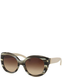 Tory Burch Two Tone Streaked Cat Eye Sunglasses Olive Horn
