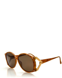 Christian Dior Vintage Marbled Sunglasses Wmetal Temple Brown