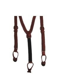 Geoffrey Beene V Braided Leather Suspenders By Claiborne