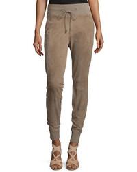 Ralph Lauren Collection Taryn Drawstring Waist Jogger Pants Taupe
