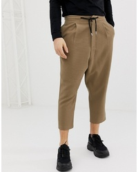 ASOS DESIGN Drop Crotch Tapered Trouser In Camel With Chocolate Drawcord