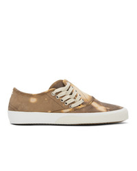 Maison Margiela Brown And Beige Tie Dye Military Sneakers