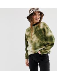 Pull&Bear Sweatshirt In Green Tie Dye