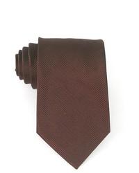 Bruno Piattelli Brown Solid Stripe Woven Silk Neck Tie