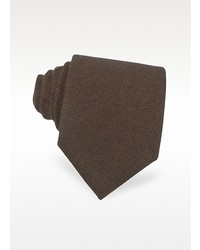 Forzieri Solid Brown Cashmere Extra Long Tie