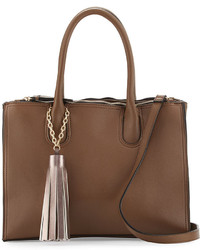 Neiman Marcus Saffiano Faux Leather Tassel Tote Bag Taupe