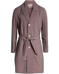 Checked wool trench coat medium 441391