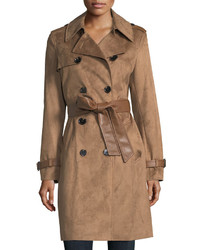 Via Spiga Double Breasted Faux Suede Trenchcoat