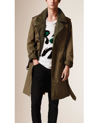 Burberry Nubuck Trim Technical Cotton Trench Coat