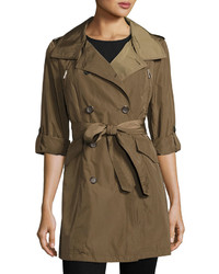 French Connection Nylon Double Breasted Trench Coat Olive