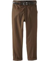 American Exchange Big Boys Belted Dress Pants Brown 14