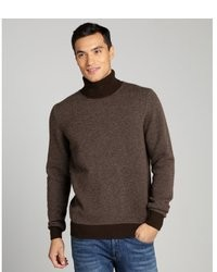 Brioni Brown Patterned Cashmere Turtleneck Sweater