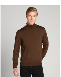 Brioni Brown Wool Ribbed Turtleneck Sweater
