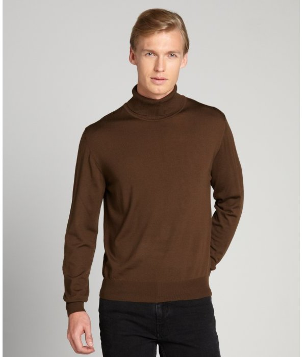 Brioni Brown Wool Ribbed Turtleneck Sweater | Where to buy & how ...
