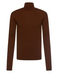 Hugo boss t bax italian wool alpaca turtleneck sweater m brown medium 1138582