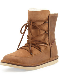 UGG Lodge Fur Lined Lace Up Boot Chestnut