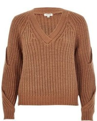 River Island Brown Chunky Knit Cold Shoulder Sweater