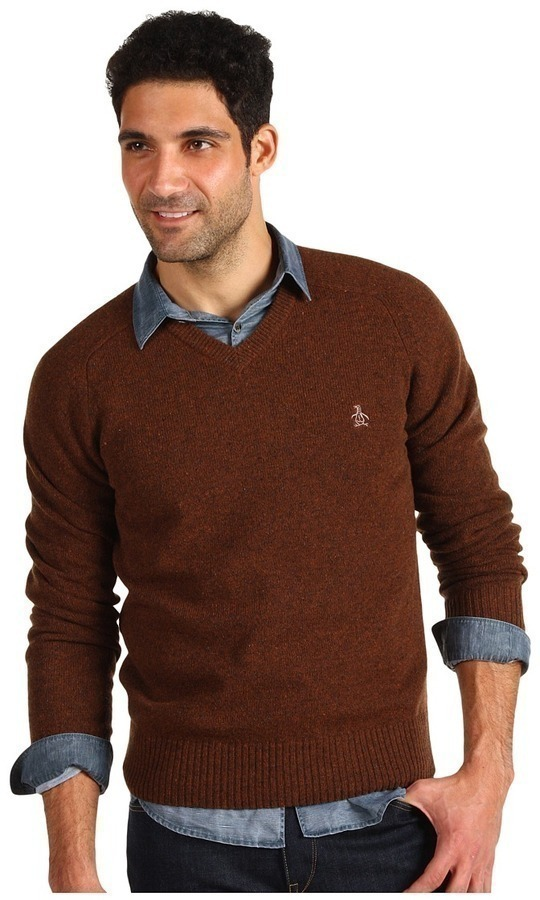 Original Penguin Donegal Saddle Raglan V Neck Sweater | Where to ...