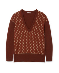 Chloé Metallic Intarsia Wool Blend Sweater
