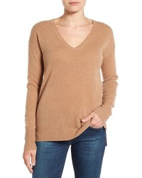 Petite halogen v neck cashmere sweater medium 1055583
