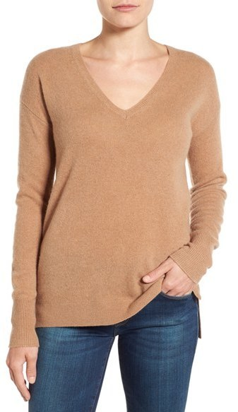 Petite Halogen V Neck Cashmere Sweater | Where to buy & how to wear