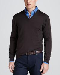 Kiton V Neck Pullover Sweater Brown