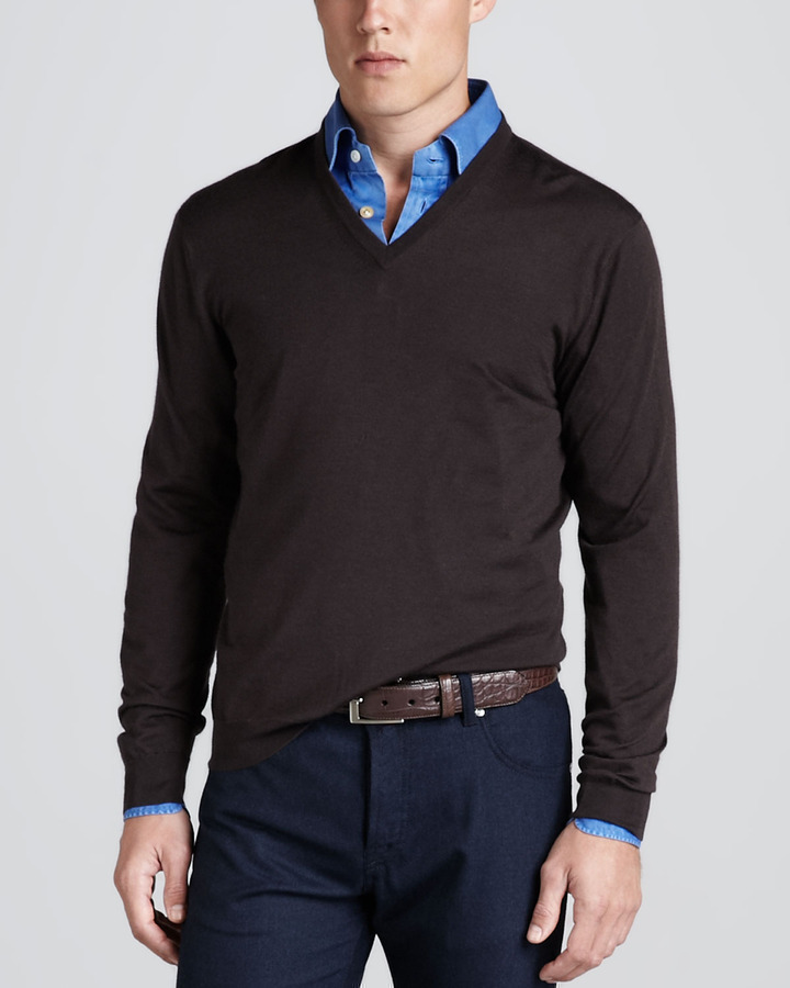 Kiton V Neck Pullover Sweater Brown | Where to buy & how to wear