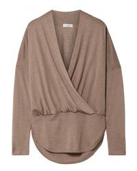 Brunello Cucinelli Wrap Effect Mlange Cashmere And Sweater