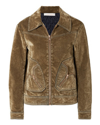See by Chloe Cotton Blend Velvet Bomber Jacket